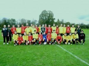 Les 2 équipes avant le match de Coupe du Jumelage