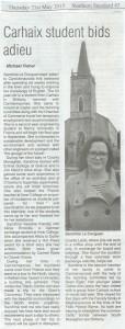 Article de presse sur le séjour de andrine à Carrickmacross