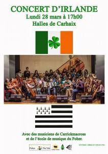 Affiche du concert Bretagne-Irlande le 28 mars 2016 à Carhaix