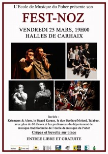 Affiche du fest-noz du 25 mars 2016 à Carhaix